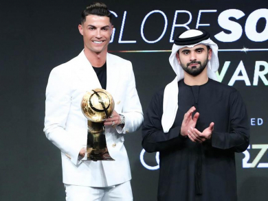 Cristiano Ronaldo and Lucy Bronze among top footballers honoured at Dubai Globe Soccer Awards