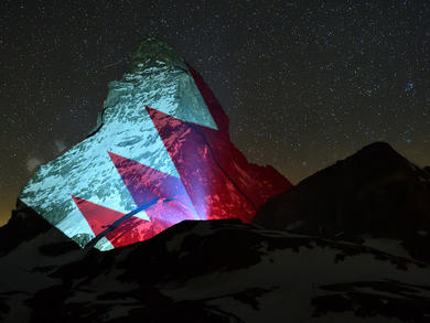 Swiss Matterhorn lit up with Bahraini flag in show of solidarity