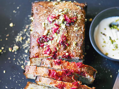 Recipe: Pistachio, lemon and rose drizzle cake with rose cream